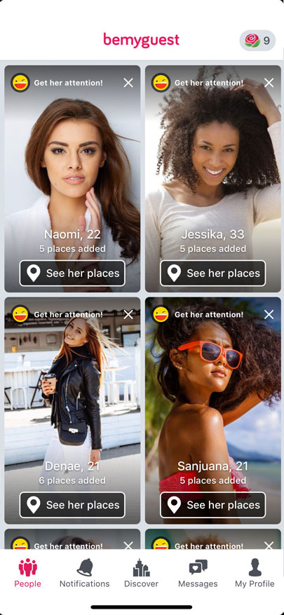Screenshot of the BeMyGuest app